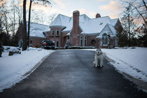 House driveway in the winter